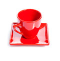 A red coffee cup isolated on white background Royalty Free Stock Images