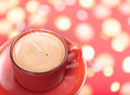 Red coffee cup photo of on bokeh background Stock Photos