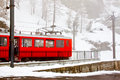 Red cog train at station 1 Royalty Free Stock Photos