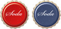 Red cola bottle cap and blue soda Stock Photo