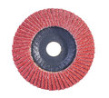 Red color abrasive flap disc isolated on white background Royalty Free Stock Image