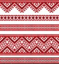 Red color embroidered good like handmade cross stitch ethnic ukraine pattern Stock Image