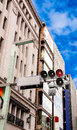 Red color on the traffic light and near buildings Royalty Free Stock Image