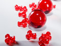 Red Colored Beads Stock Photo
