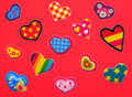 Red colorful hearts valentines day background with small Stock Photography
