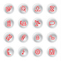 Red communication icons Stock Photo