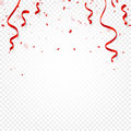 Red confetti, serpentine or ribbons falling on white transparent background vector illustration. Party, festival, fiesta Royalty Free Stock Photo