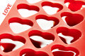 Red container for ice form of hearts Royalty Free Stock Photo