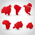 Red continent set d map vector illustration Royalty Free Stock Photography