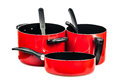 Red cooking pans and pots Royalty Free Stock Photo