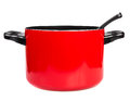 Red cooking pot with a spoon Stock Photography