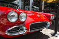 Red corvette shiny for display at duval street key west Royalty Free Stock Images