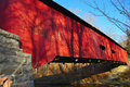 Red covered bridge Stock Photography