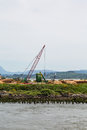 Red Crane at Logging Operation Royalty Free Stock Photo