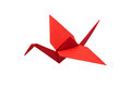 Red crane origami on white background Royalty Free Stock Photos