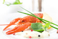 Red crayfish boiled with sauce and herbs Royalty Free Stock Photography