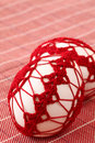 Red crochet Easter eggs Royalty Free Stock Image