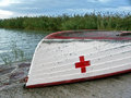 Red cross on a boat Royalty Free Stock Image