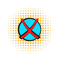 Red cross, check mark icon, comics style Royalty Free Stock Photo
