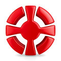 Red cross in circle on white background Stock Images