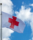 Red cross flag Royalty Free Stock Photo