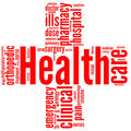 Red cross - Health and wellbeing tag or word cloud Royalty Free Stock Photo