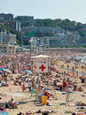 Red cross Lifeguard station in Concha beach. San Sebastian, Spain. Royalty Free Stock Photo