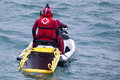 Red cross maritime rescue and watercraft mataro spain september Stock Image