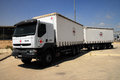 Red cross medical supply truck erez crossing isr june a at erez crossing israel on june the has won the nobel peace prize three Stock Photo
