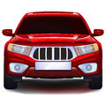 Red crossover car with blank number plate Royalty Free Stock Photo