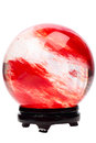 Red crystal ball on the stand isolated white background Stock Images
