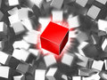 Red cube and quantity of grey cubes Royalty Free Stock Photo