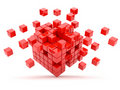 Red cubes 3D. Isolated Royalty Free Stock Photo