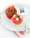 Red cup cakes Royalty Free Stock Photo