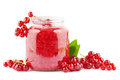 Red currant jam fresh homemade with currants on white Royalty Free Stock Photo