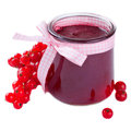 Red currant jam glass jar of a over white Stock Images
