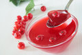 Red currant jelly with berries Stock Photo