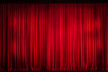 Red curtain closed on the stage of opening night Royalty Free Stock Images