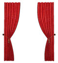 Red curtain d rendered soft and heavy isolated on white Royalty Free Stock Images