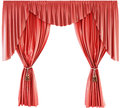 Red curtain with lambrequin isolated on a white background. 3d. Royalty Free Stock Photo