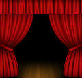 Red curtain open on wooden stage Stock Photography