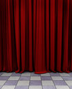 Red curtain a over a checkerboard floor Royalty Free Stock Photos