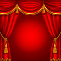 Red curtain theater stage with detailed vector illustration Stock Image
