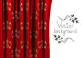 Red curtain vector with floral pattern Stock Photography