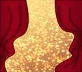 Red curtains and golden background Royalty Free Stock Photos