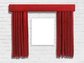Red curtains pulled back to reveal artwork on a white brick wall Royalty Free Stock Images