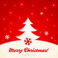 Red cutout paper christmas tree greeting card vector with sign Royalty Free Stock Photos