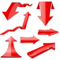 Red 3d arrows. Shiny financial graph icons Royalty Free Stock Photo