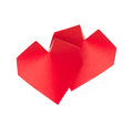 Red 3d hearts of origami.