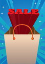 Red d sale message coming out of a shopping bag vector illustration Stock Images